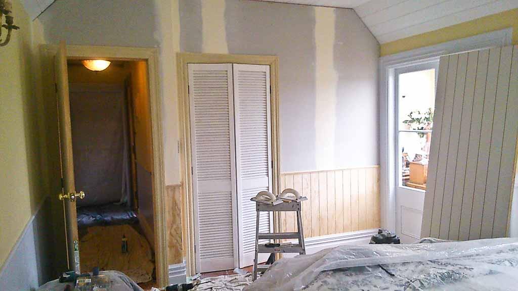 Cottage bedroom during makeover