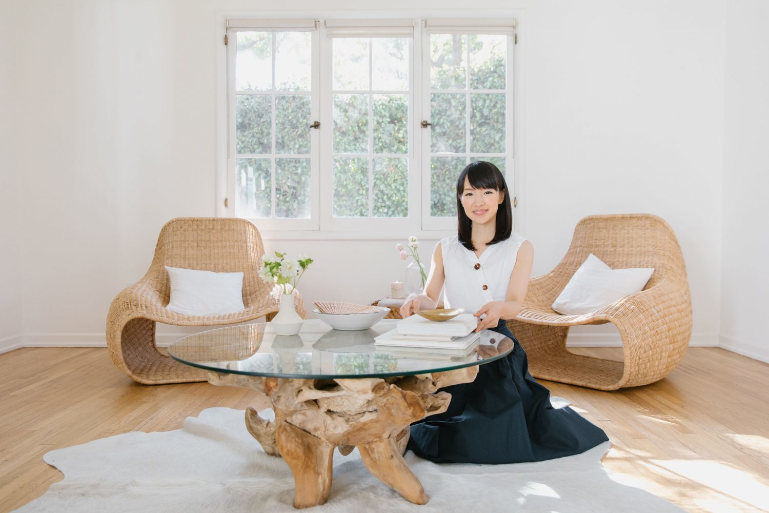 Marie Kondo in a beautiful minimal room